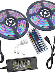 baratos -HKV 2x5 milhões Conjuntos de Luzes / Faixas de Luzes RGB 600 LEDs 3528 SMD 1 controlador remoto de 44 teclas / Adaptador de energia 1 X 5A RGB Impermeável / Cortável / Conetável 100-240 V 1conjunto