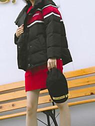 baratos -Mulheres Diário Básico Estampa Colorida Padrão Acolchoado, Poliéster Manga Longa Inverno Com Capuz Branco / Preto / Vermelho S / M / L