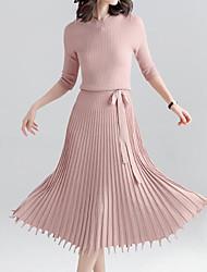 baratos -Mulheres Para Noite Delgado Tricô Vestido Gola Redonda Médio