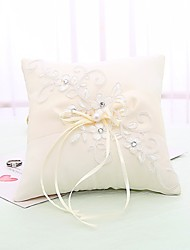 cheap -Fabrics Faux Pearl / Lace / Crystal / Rhinestone Satin Ring Pillow Beach Theme / Garden Theme / Butterfly Theme All Seasons