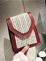 baratos -Mulheres Bolsas Palha Telefone Móvel Bag Botões Vermelho / Marron / Khaki