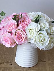 baratos -Flores artificiais 10 Ramo Clássico / Solteiro (L150 cm x C200 cm) Estiloso / Pastoril Estilo Rosas Flor de Mesa