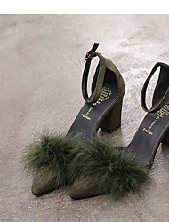 baratos -Mulheres Sapatos Cetim Primavera Verão Plataforma Básica Saltos Salto Robusto Dedo Apontado Penas Verde Tropa / Rosa claro / Khaki