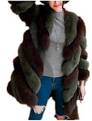 Недорогие -Жен. Большие размеры Длинная Пальто с мехом V-образный вырез Классический - Контрастных цветов
