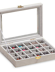 Недорогие -Место хранения организация Ювелирная коллекция Ткань Прямоугольная форма Открытая крышка