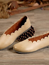 Недорогие -Жен. Комфортная обувь Наппа Leather Весна & осень На плокой подошве На плоской подошве Серый / Зеленый / Миндальный