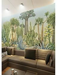 baratos -papel de parede / Mural Tela de pintura Revestimento de paredes - adesivo necessário Pintura / Árvores / Folhas / 3D