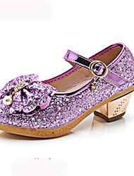 cheap -Girls' Shoes PU(Polyurethane) Spring &  Fall / Fall Flower Girl Shoes Heels Walking Shoes Rhinestone / Buckle for Kids Fuchsia / Silver / Pink