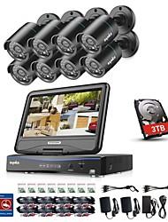 economico -sannce® 8ch 8pz 720p sistema di sicurezza di sorveglianza impermeabile con 4in1 1080p build in monitor dvr lcd supportato tvi telecamere ip e analogiche con 1tb hd