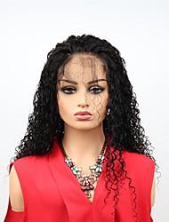 abordables -Cabello Remy Encaje Frontal Wig Cabello Brasileño Afro Kinky Peluca Corte asimétrico 130% / 150% Mujer / Fácil vestidor / sexy lady Negro Mujer Larga Pelucas de Cabello Natural