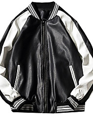 cheap -Men's Leather Jacket - Color Block Stand / Long Sleeve