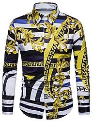 Недорогие -Муж. Большие размеры - Рубашка Винтаж Полоски / Геометрический принт / Этно Лиловый / Длинный рукав