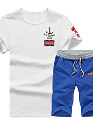cheap -Men's Sports Short Sleeve Activewear Set - Geometric / Letter Round Neck