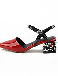 cheap -Women's Nappa Leather Spring Basic Pump Heels Block Heel White / Black / Red