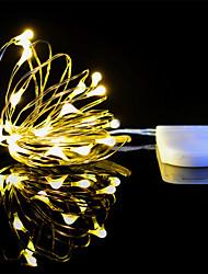 Недорогие -1m Гибкие светодиодные ленты / Гирлянды 10 светодиоды ДИП светодиоды Белый Новый дизайн / Декоративная / Новогодняя тематика Аккумуляторы 1 комплект