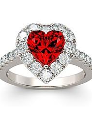 abordables -Femme Zircon Empiler Bague - S925 argent sterling Cœur Romantique 6 / 7 / 8 Argent Pour Mariage / Fiançailles
