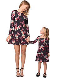 cheap -2pcs Adults / Kids Mommy and Me Animal Long Sleeve Dress