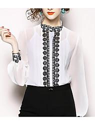 Недорогие -Жен. Пэчворк / Вышивка Блуза Классический Однотонный