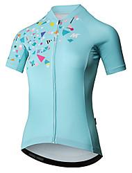 baratos -Mysenlan Mulheres Manga Curta Camisa para Ciclismo - Verde Menta Moto Camisa / Roupas Para Esporte Poliéster / Zíper YKK