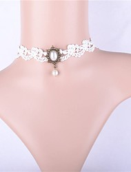 cheap -Women's Classic / Hollow Out Choker Necklace - Imitation Pearl, Lace Vintage, Casual Lolita White 29 cm Necklace 1pc For Street, Festival