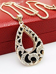 cheap -Women's Cubic Zirconia Hollow Out / Prince Of Wales Pendant Necklace / Chain Necklace - Teardrop Dangling Style, Korean, Elegant Gold 75 cm Necklace 1pc For Street, Going out