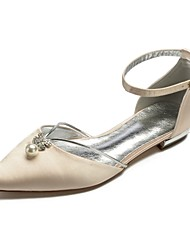 cheap -Women's Shoes Satin Spring & Summer Comfort / Ballerina Wedding Shoes Flat Heel Pointed Toe Rhinestone / Imitation Pearl / Sparkling Glitter Blue / Champagne / Ivory / Party & Evening