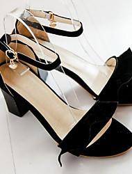 baratos -Mulheres Sapatos Couro Ecológico Primavera Verão Conforto Sandálias Salto Robusto Dedo Aberto Roxo / Azul / Rosa claro