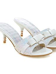 Недорогие -Жен. Сандалии Комфортная обувь На низком каблуке Деним Весна Белый / Черный / Розовый