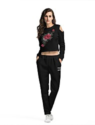 cheap -Women's Crew Neck Cut Out / Pocket Tracksuit - White, Black Sports Embroidery High Rise Pants / Trousers / Sweatshirt / Crop Top Running, Fitness, Gym Long Sleeve Activewear Breathable, Sweat-wicking