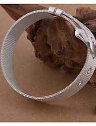 baratos -Homens Fashion Entrançado tear Bracelet Pulseira larga - S925 Sterling Silver Onda Estiloso, Simples, Elegante Pulseiras Branco Para Diário Encontro