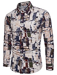 Недорогие -Муж. С принтом Рубашка Уличный стиль / Шинуазери (китайский стиль) Контрастных цветов