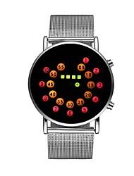 Недорогие -Муж. Жен. Наручные часы Цифровой 30 m Секундомер Светящийся Cool Нержавеющая сталь Группа Цифровой Цветной Серебристый металл - Темно-синий Красный Один год Срок службы батареи / Крупный циферблат
