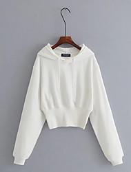 billige -Kvinder går ud i langærmet slank hættetrøje - solid farvet hættetrøje