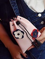 Недорогие -Жен. Мешки PU Мобильный телефон сумка Цветы Черный / Розовый / Серый