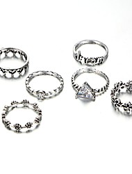 cheap -Women's Classic / Retro Midi Ring - Heart, Letter Romantic, Elegant Adjustable Silver For Daily / Festival / 6pcs