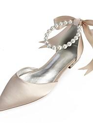 Per donna Scarpe comfort Raso Primavera estate scarpe da sposa Piatto  Appuntite Con diamantini   Fiocco   Perle di imitazione Blu   Champagne    Avorio ... 3f57de046ab