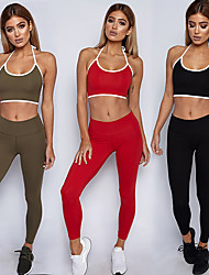 cheap -Women's Spaghetti Strap Strappy Yoga Pants With Top - Black, Red, Green Sports Fashion Sports Bra / Pants / Trousers / Tights Running, Fitness, Dance Activewear 3D Pad, Breathable, Comfortable