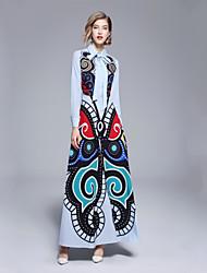 Χαμηλού Κόστους -Γυναικεία Κομψό Λεπτό Swing Φόρεμα - Φλοράλ, Στάμπα Μακρύ Κολάρο Πουκαμίσου