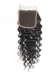 cheap -Fulgent  Sun Peruvian Hair / Deep Wave 4x4 Closure Wavy Free Part Chinese Lace Human Hair Women's Best Quality / Hot Sale / Lace Closure Christmas / Christmas Gifts / Wedding