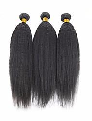 Недорогие -3 Связки Бразильские волосы Вытянутые 8A Натуральные волосы Человека ткет Волосы Пучок волос Накладки из натуральных волос 8-28 дюймовый Естественный цвет Ткет человеческих волос Машинное плетение