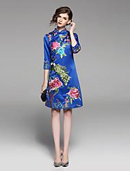 Недорогие -Жен. Винтаж / Шинуазери (китайский стиль) А-силуэт Платье - Цветочный принт / Животное, Вышивка Выше колена Кран