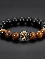 cheap -Men's Black Gemstone / Tiger Eye Stone Stylish Strand Bracelet / Bracelet - Creative Natural, Casual / Sporty, Fashion Bracelet Black For Birthday / Daily