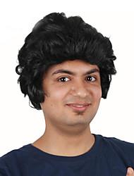 billige -Syntetiske parykker / Kostumeparykker Krøllet Bob frisure Syntetisk hår 12 inch Moderigtigt Design / Cosplay / Til europæisk Sort Paryk Herre Kort Maskinproduceret