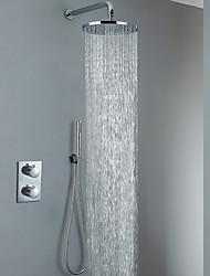 Недорогие -Смеситель для душа - Современный Хром На стену Медный клапан Bath Shower Mixer Taps / Латунь / Две ручки три отверстия
