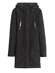 cheap -Men's Long Trench Coat - Solid Colored Hooded / Long Sleeve