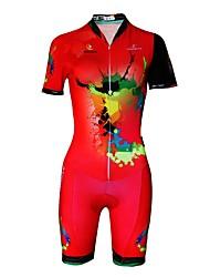 abordables -Femme Manches Courtes Tenue de Triathlon - Rouge Grandes Tailles Vélo Bandes Réfléchissantes, Anti-transpiration Lycra Peinture / Elastique / Encre importée d'Italie