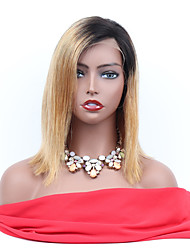 Недорогие -Remy Полностью ленточные Wig Бразильские волосы Прямой Парик Ассиметричная стрижка 130% Женский / Легко туалетный / Sexy Lady Жен. 8-14 Парики из натуральных волос на кружевной основе
