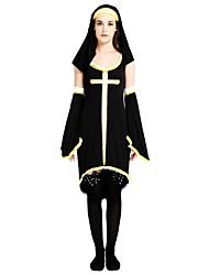 billige -Missionær Dragter Dame Halloween / Karneval / Barnets Dag Festival / Højtider Halloween Kostumer Sort Ensfarvet / Halloween Halloween
