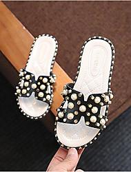 Недорогие -Девочки Обувь Искусственная кожа Лето Удобная обувь Тапочки и Шлепанцы Жемчуг для Дети / Для подростков Белый / Черный