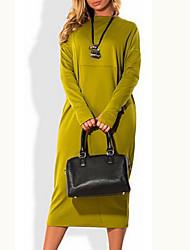 Недорогие -Жен. Большие размеры Классический Платье - Однотонный Средней длины / Весна / Осень